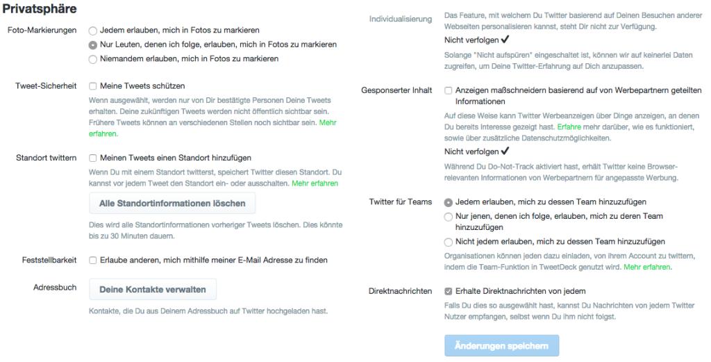 Twitter-Privatsphäre