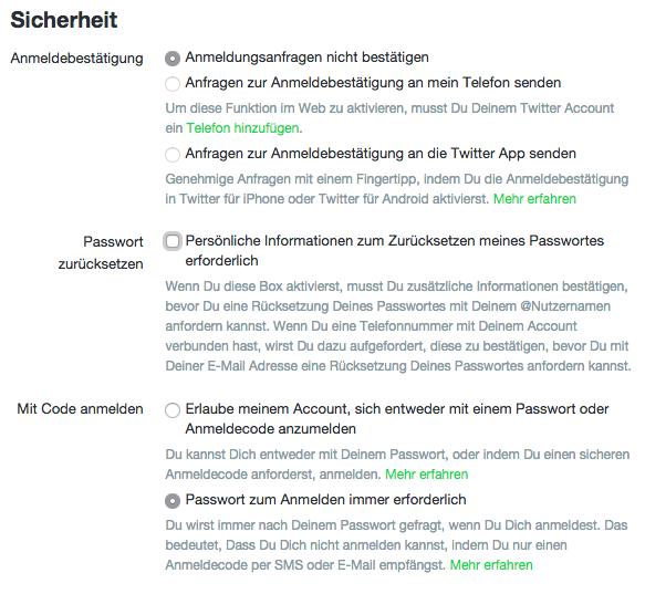 Twitter-Sicherheitseinstellungen