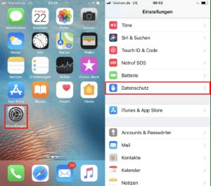 Screenshot iPhone - Menüpunkt Datenschutz